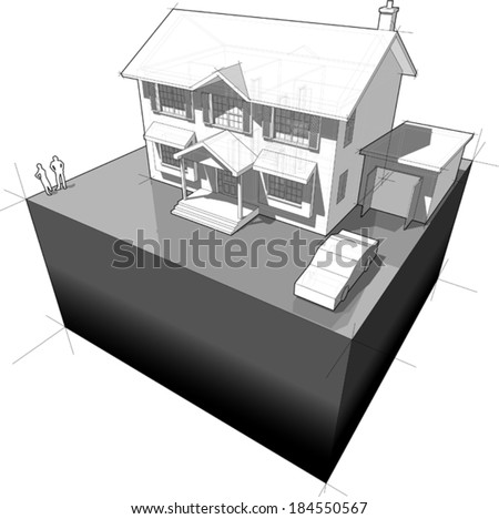 diagram of a classic colonial house (another house diagram from the collection, all have the same point of view/angle/perspective, easy to combine)  - stock vector