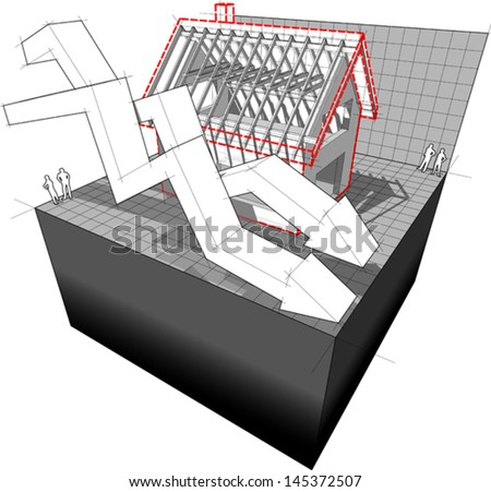diagram of a detached house under construction with two falling business diagram arrows  - stock vector