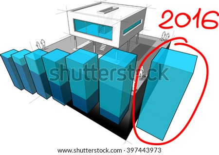 diagram of a modern house with rising abstract business diagram and hand drawn note 2016 over last diagram bar - stock vector