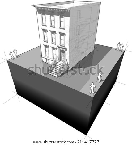 diagram of a typical american townhouse , also called BROWNSTONE house - stock vector