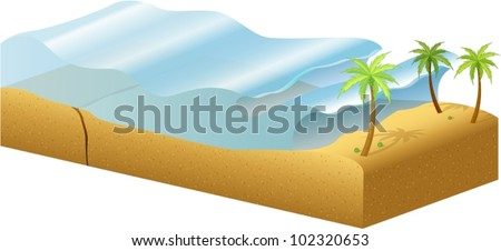 Diagram of how tsunamis are formed - stock vector