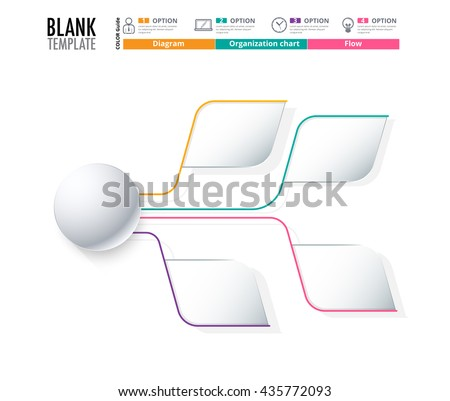 Diagram Template, Organization chart template. flow template, blank diagram for replace text, white color, Circle diagram, vector stock design. (blank) - stock vector