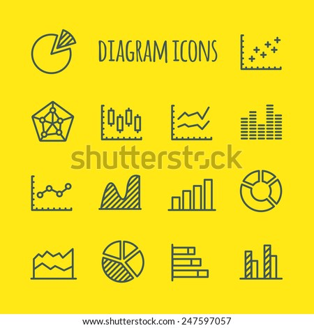Diagram Vector Line Icons Set - stock vector
