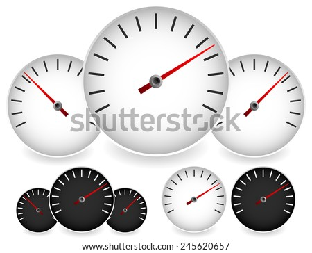 Dial templates in black and white with red needles. For gauge, measure, yardstick, benchmarking concepts. Can be used as a manometer, tachometer, barometer or speedometer element. (vector) - stock vector