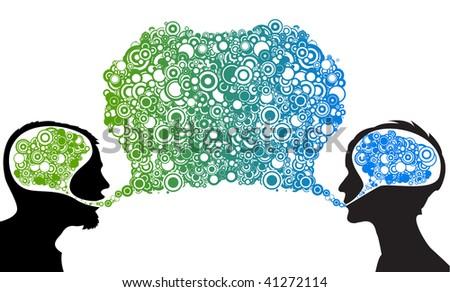 Dialog between man and woman - abstract vector illustration - stock vector