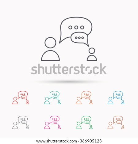 Dialog icon. Chat speech bubbles sign. Discussion messages symbol. Linear icons on white background. - stock vector