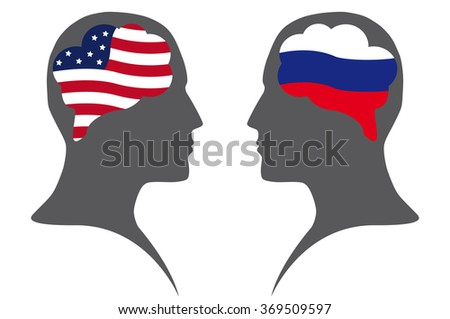 Dialogue  between USA and Russian Federation - stock vector