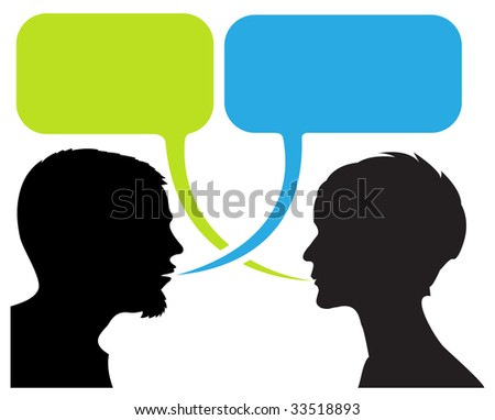 dialogue comic strip with silhouettes and speech bubbles - stock vector