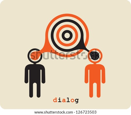 Dialogue,contact, conversational exchange between two individuals - stock vector