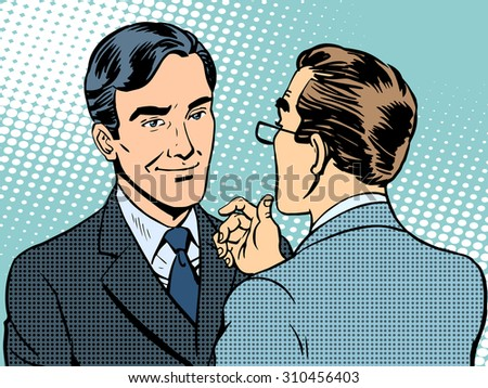 Dialogue conversation businessmen retro style pop art - stock vector