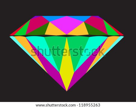 Diamond anatomy pattern in standard cut for modern round brilliant with 58 facets illustrated by many colors shown premium design. - stock vector