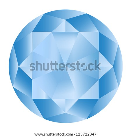 Diamond anatomy pattern in standard cut for modern round brilliant with 58 facets illustrated by blue shown premium design in 10 EPS format. - stock vector
