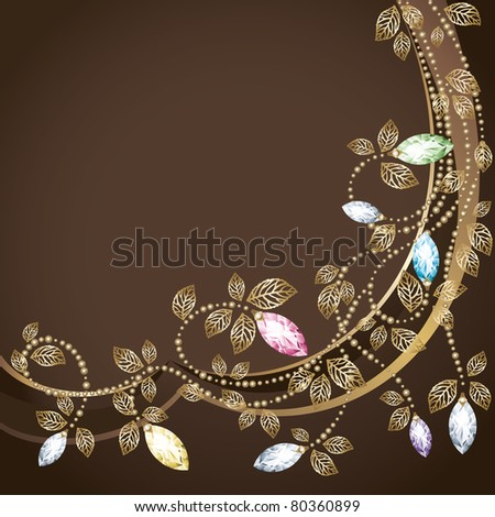 Diamond and gold decoration. Postcard. Vector. - stock vector
