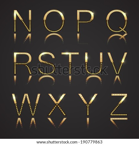 Diamond and Gold Uppercase Letters - Set 2 - stock vector