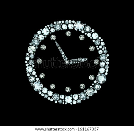 Diamond Clock - stock vector
