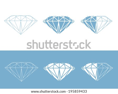 Diamond Collection: Set of Different Diamond Illustration Designs  - stock vector