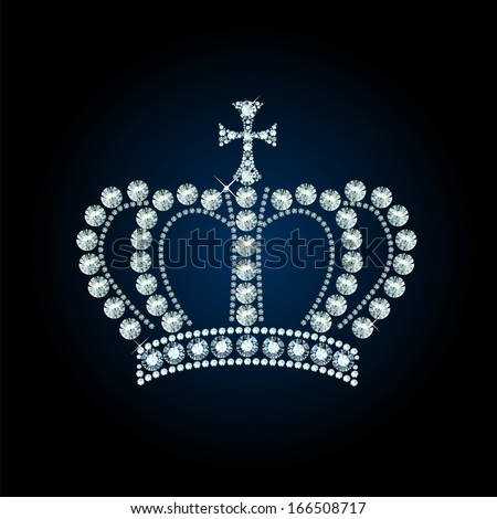Diamond crown decorated with jewels - stock vector