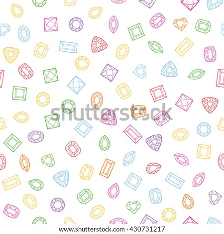 Diamond cut shapes. Seamless pattern. Heart, drop, emerald, oval, round and other diamond cut shapes. Abstract hand drawn pattern with gemstones. White background. Colorful texture. - stock vector
