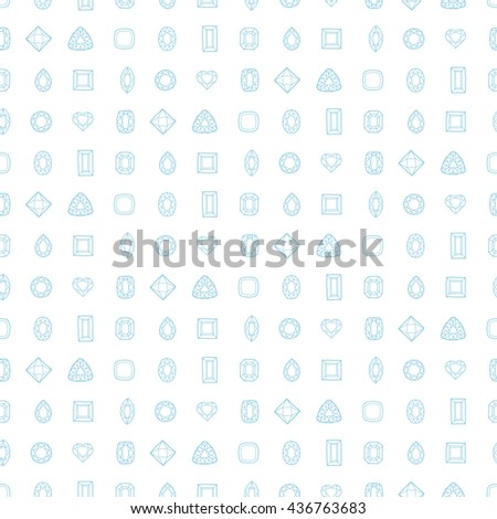 Diamond cut shapes. Seamless pattern. Heart, drop, emerald, oval, round and other diamond cut shapes. Abstract hand drawn pattern with gemstones. White background. - stock vector