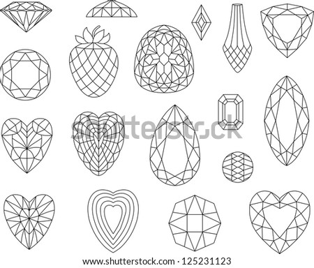 Diamond cuts isolated on white background - stock vector