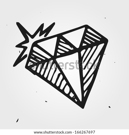 diamond, gemstone hand drawn - stock vector