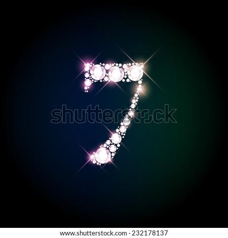 "Diamond glittering number ""7"" seven of sparkling brilliants (glitter font concept) - stock vector"