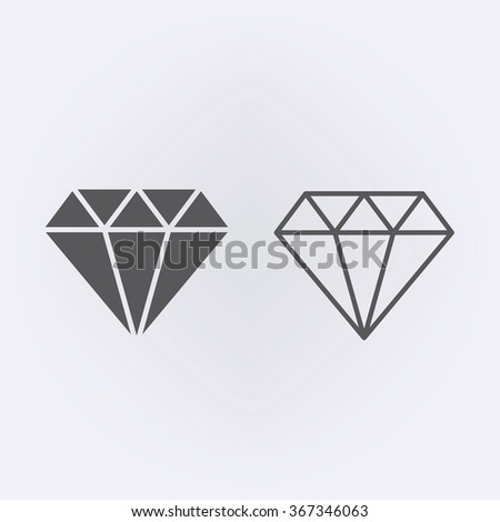 Diamond icon and diamond outline icon . Vector illustration - stock vector