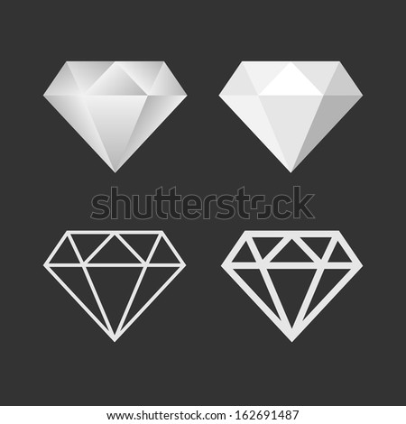 Diamond Icon And Emblem Set. Vector - stock vector