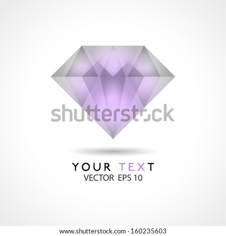 diamond icon vector transparent shiny in vector format  - stock vector
