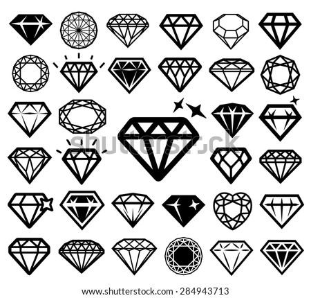 Diamond icons set. Vector illustration. - stock vector