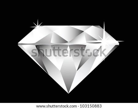 diamond illustration on black background - stock vector