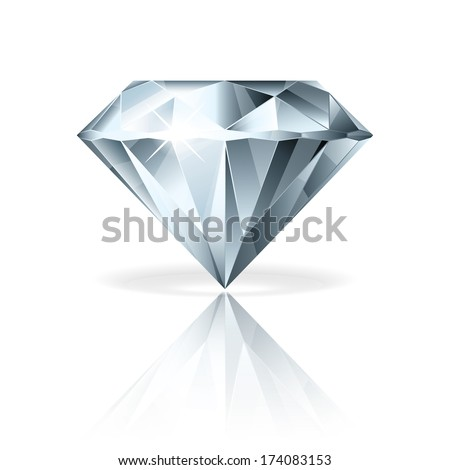 Diamond isolated on white photo-realistic vector illustration - stock vector