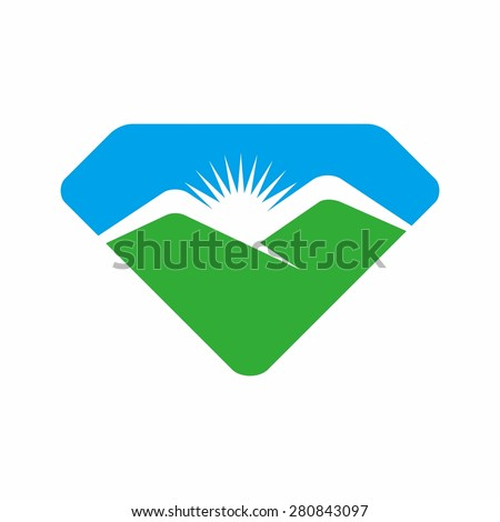 diamond landscape logo with mountain and sky. - stock vector