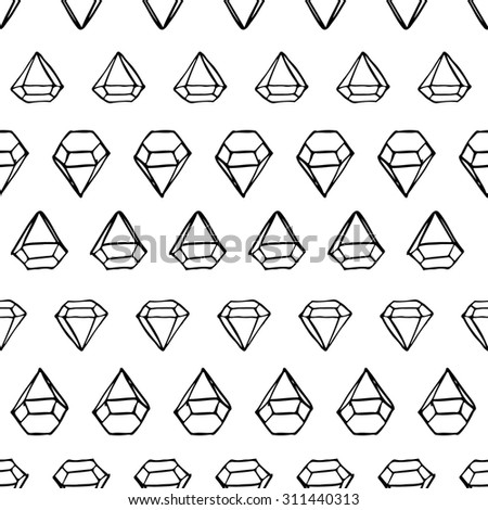 Diamond pattern. Black and white. Geometric seamless background. Ink style. Random. - stock vector