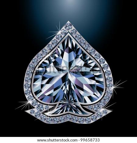 Diamond poker card spades, vector illustration - stock vector