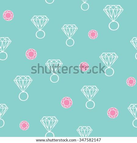 diamond ring ,seamless pattern - stock vector