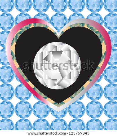 Diamond shape displays as love and gift concept, vector 10 EPS - stock vector