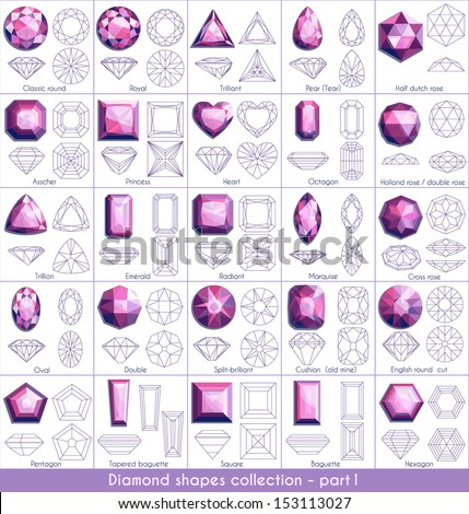 Diamond shapes collection - part 1 (eps10) - stock vector