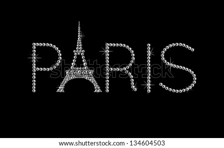 DIamond, shining, vintage, retro PARIS sign with Eiffel Tower on black background. - stock vector