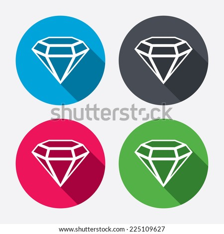 Diamond sign icon. Jewelry symbol. Gem stone. Circle buttons with long shadow. 4 icons set. Vector - stock vector