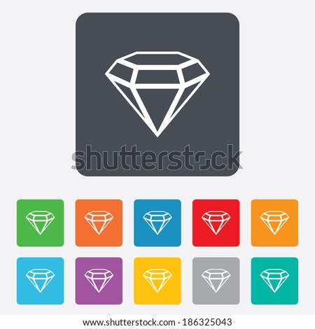 Diamond sign icon. Jewelry symbol. Gem stone. Rounded squares 11 buttons. Vector - stock vector