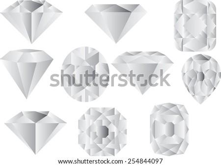 Diamond, ten different diamonds, vector set of diamond design elements - stock vector