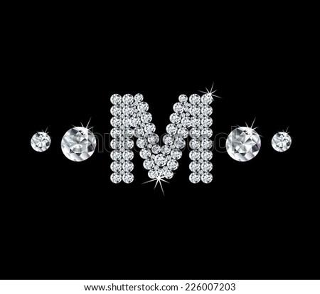 Diamond vector alphabetic letter 'M' - stock vector
