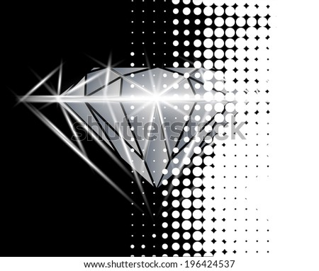 Diamond vector background with halftone - stock vector