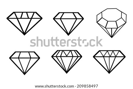 Diamond vector icons set  - stock vector