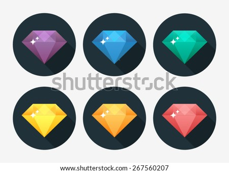 Diamond vector illustration in flat design - stock vector