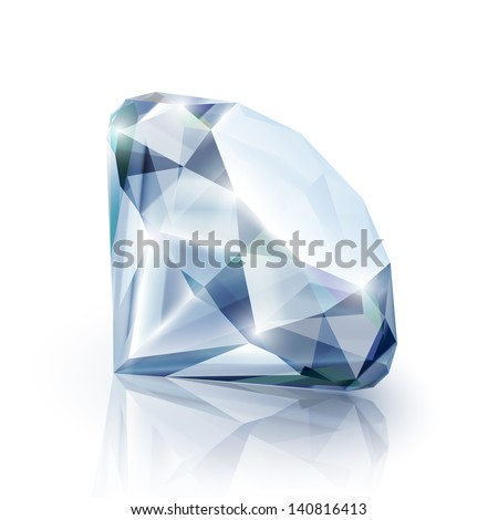 Diamond with reflection isolated on white - eps10 - stock vector