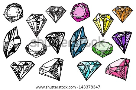 Diamonds. Set of doodle crystals. - stock vector