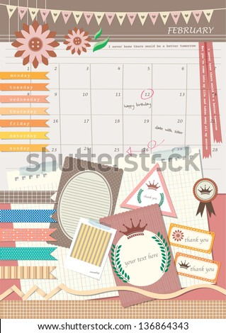 diary style photo scrapbook elements design - stock vector
