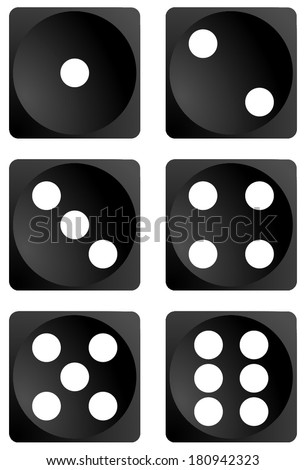 Dice for games turned on all sides and with all the numbers. Numbers of dice, one, two, three, four, five, six. Black dice vector art image objects illustration eps10, isolated on white background - stock vector